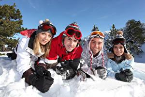 Image Winter Men Snow Smile Eyeglasses Glove Girls