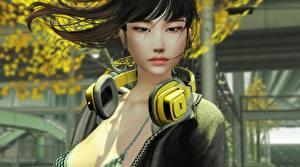 Bilder Asiatische Kopfhörer Brünette Starren Mädchens 3D-Grafik