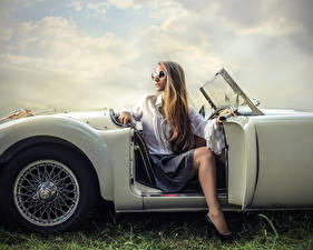 Picture Blonde girl Eyeglasses Sitting Girls Cars
