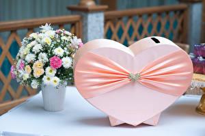 Wallpaper Bouquets Chrysanths Jewelry Heart Ribbon