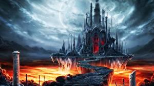 Bakgrundsbilder på skrivbordet Borg Gotisk fantasi Bro Lava Fantasy