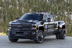 Bilder Chevrolet Schwarz Pick-up Metallisch 2018 Silverado 3500HD Safety Safari Concept Autos