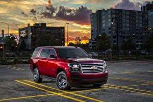 Hintergrundbilder Chevrolet Rot Parkplatz Sport Utility Vehicle 2018 Tahoe Autos