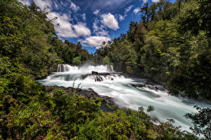Photo Chile Forest River Waterfalls Clouds Neltume Nature
