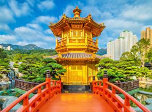 壁纸、、中華人民共和国、パゴダ、橋、公園、塀、Nan Lian Gardens、自然