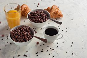 Bilder Kaffee Saft Croissant Frühstück Tasse Trinkglas