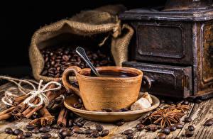 Hintergrundbilder Kaffee Sternanis Zimt Tasse Getreide Bretter das Essen