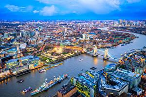 Bilder England Gebäude Flusse Brücken Bootssteg Schiffe London Megalopolis