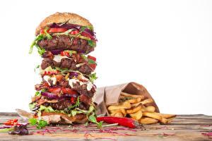 Fotos Fast food Hamburger Pommes frites Fleischwaren Gemüse Weißer hintergrund Lebensmittel