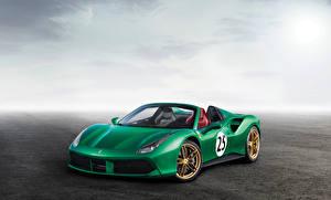 Hintergrundbilder Ferrari Grün Roadster 2017-18 488 Spider The Green Jewel Autos