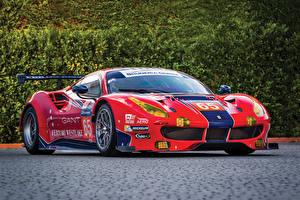 Wallpaper Ferrari Tuning Red Metallic 2016-18 488 GTE Cars