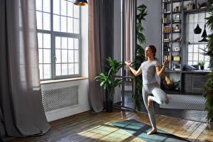 Hintergrundbilder Fitness Braunhaarige Trainieren Mädchens Sport