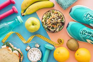 Fotos Fitness Müsli Wecker Messband Sportschuhe Lebensmittel