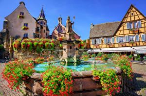Fotos Frankreich Gebäude Springbrunnen Denkmal Eguisheim