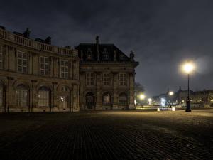Hintergrundbilder Frankreich Haus Paris Nacht Straßenlaterne Institut de France Städte