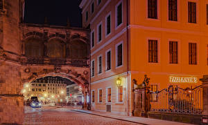 Images Germany Dresden Houses Street Street lights Fence Night time Cities