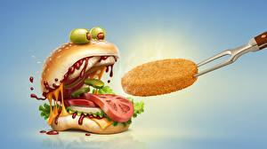 Pictures Hamburger Tomatoes Olive Ketchup Food