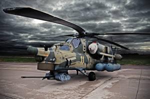 Hintergrundbilder Hubschrauber Russisches Mi-28N Luftfahrt