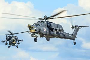 Hintergrundbilder Hubschrauber Russischer Mi-28N Luftfahrt