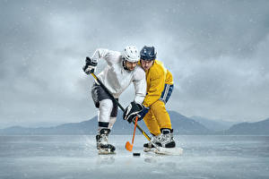 Фотографии Хоккей Мужчины 2 Униформа Шлем Льда Спорт