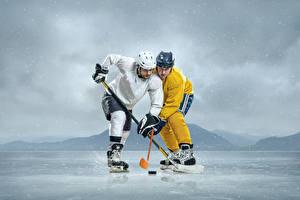 Photo Hockey Men 2 Uniform Helmet Ice athletic