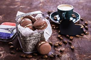 Bilder Feiertage Valentinstag Kaffee Tasse Macarons Getreide Herz Lebensmittel
