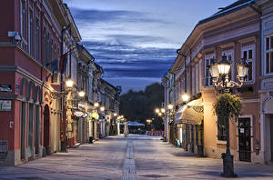 Wallpaper Houses Evening Serbia Street Street lights Novi Sad Cities