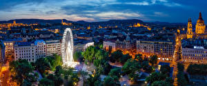 Tapety na pulpit Węgry Budapeszt Budynki Wieczór HDR Diabelski młyn miasto