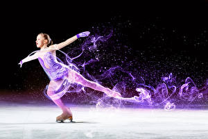 Wallpaper Ice skate Little girls Dancing Ice Hands child Sport