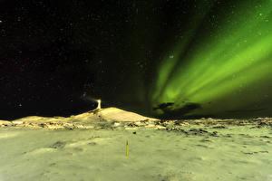 Hintergrundbilder Island Leuchtturm Himmel Stern Nordlicht Nacht Schnee Natur