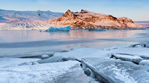 Picture Iceland Winter Rivers Snow Ice Crag Nature