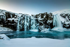 Images Iceland Winter Waterfalls Rock Snow Ice Nature