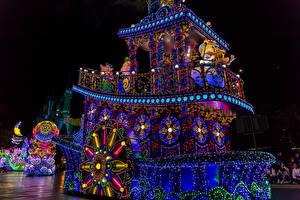 Wallpaper Japan Tokyo Disneyland Parks Ships Night time Design Fairy lights Nature