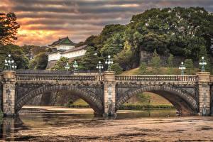 壁纸、、日本、東京都、川、橋、街灯、Imperial Palace Bridge、都市