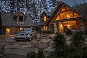 Обои Jeep Вечер Серые Особняк Дизайн Гаражом 2019 Cherokee Limited Автомобили Города