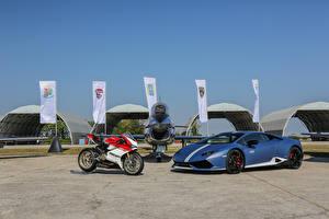 Pictures Lamborghini Ducati Airplane Blue 2016-18 Huracan LP 610-4 Avio auto Motorcycles