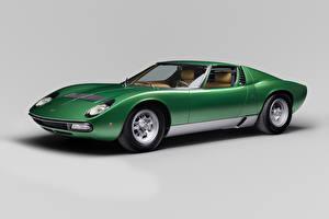 Images Lamborghini Retro Gray background Green 1971-72 Miura P400 SV Worldwide Bertone automobile