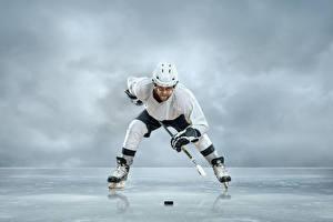 Photo Men Hockey Uniform Helmet Ice Ice skate Sport
