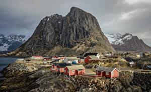 Pictures Norway Lofoten Building Crag Cities