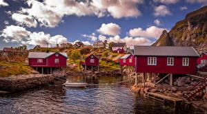 Pictures Norway Lofoten Building Pier Boats Reine Cities