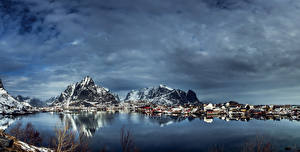 Images Norway Lofoten Houses Mountains River Winter Sky Reine Cities