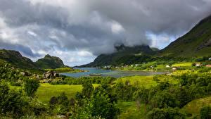 Bilder Norwegen Lofoten Gebirge See Natur