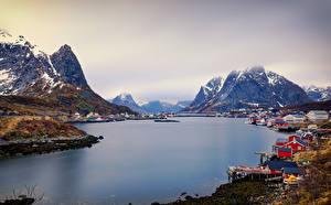 Photo Norway Lofoten Mountain Rivers Houses Reine Cities
