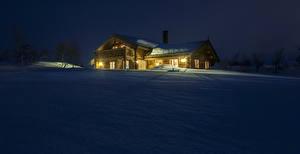 Image Norway Winter Houses Snow Night Myrane Cities
