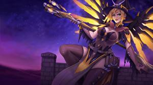 Pictures Overwatch Warriors Mage Staff Witch Mercy Games Fantasy Girls