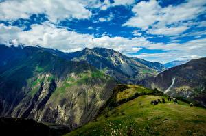 Wallpaper Peru Sky Mountains Grasslands Cow Clouds Apurimac Valley Nature