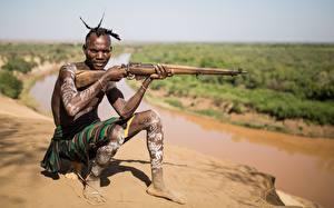 Fotos Gewehr Mann Soldaten Neger Etiopia Militär