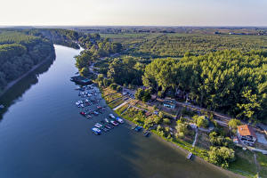 Picture River Houses Marinas Motorboat Serbia Futog Nature