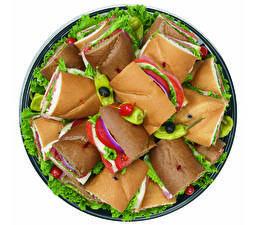 Hintergrundbilder Sandwich Brot Gemüse Weißer hintergrund Teller