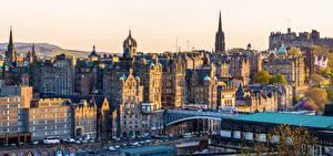 Tapety na pulpit Szkocja Edynburg Domy Most Ulica miasto